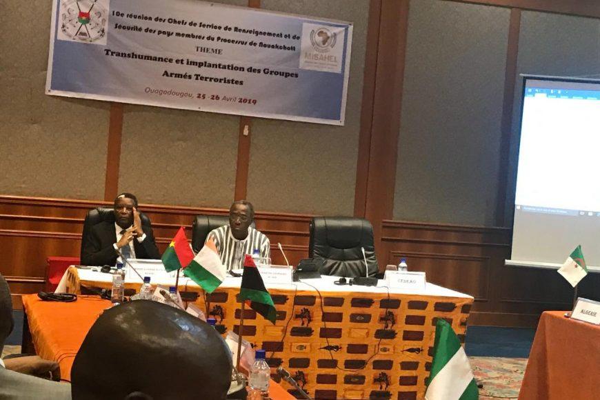 La 10ème réunion des chefs des Services de Renseignement et de Sécurité (CSRS) des pays de la région sahélo-saharienne à Ouagadougou, au Burkina Faso, les 25 et 26 Avril 2019